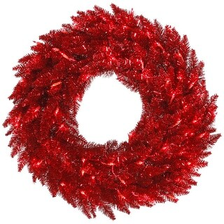 """36"""" Tinsel Red Wreath DuraL LED 100Red"""