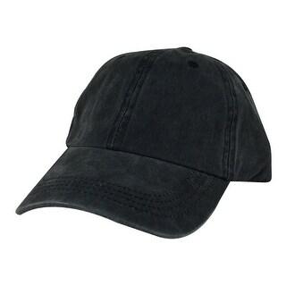 Hip Hop Skateboard PLC01 Cotton Dye Washed Unstructured Dad Cap Adjustable Strapback Hat - Black