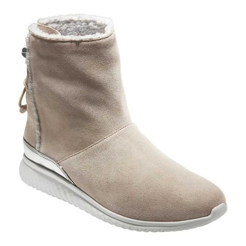 Cole Haan Women's StudioGrand Waterproof Pull On Boot Dove Suede/Faux Vapor Grey Shearling/Optic White