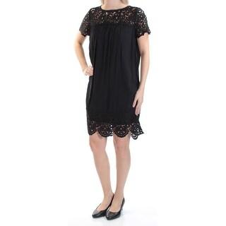 JOIE $278 Womens New 1361 Black Lace Crew Neck Short Sleeve Shift Dress S B+B