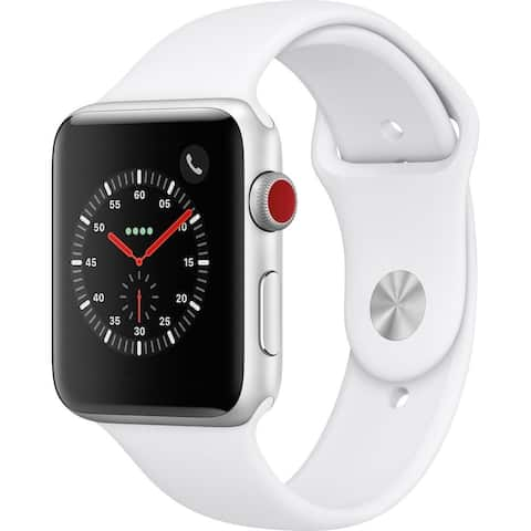 Refurbished Apple Watch 38mm Series 3 GPS & Cellular Silver & White Band