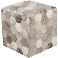 "18"" Bear Brown and Gray Leather Indoor Square Pouf Ottoman with Knife Edge"