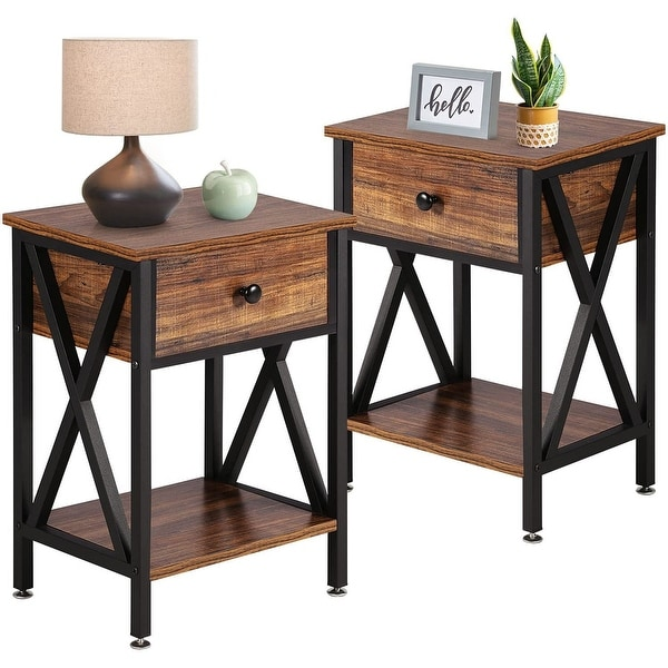 VECELO Set of 2 Modern Nightstand 2 Layer 1 Drawer Bedside End Table. Opens flyout.