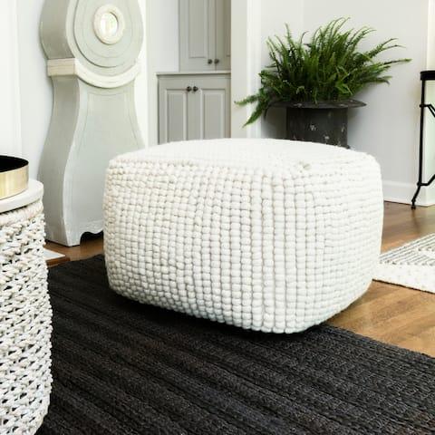 New Zealand Wool Square Pouf