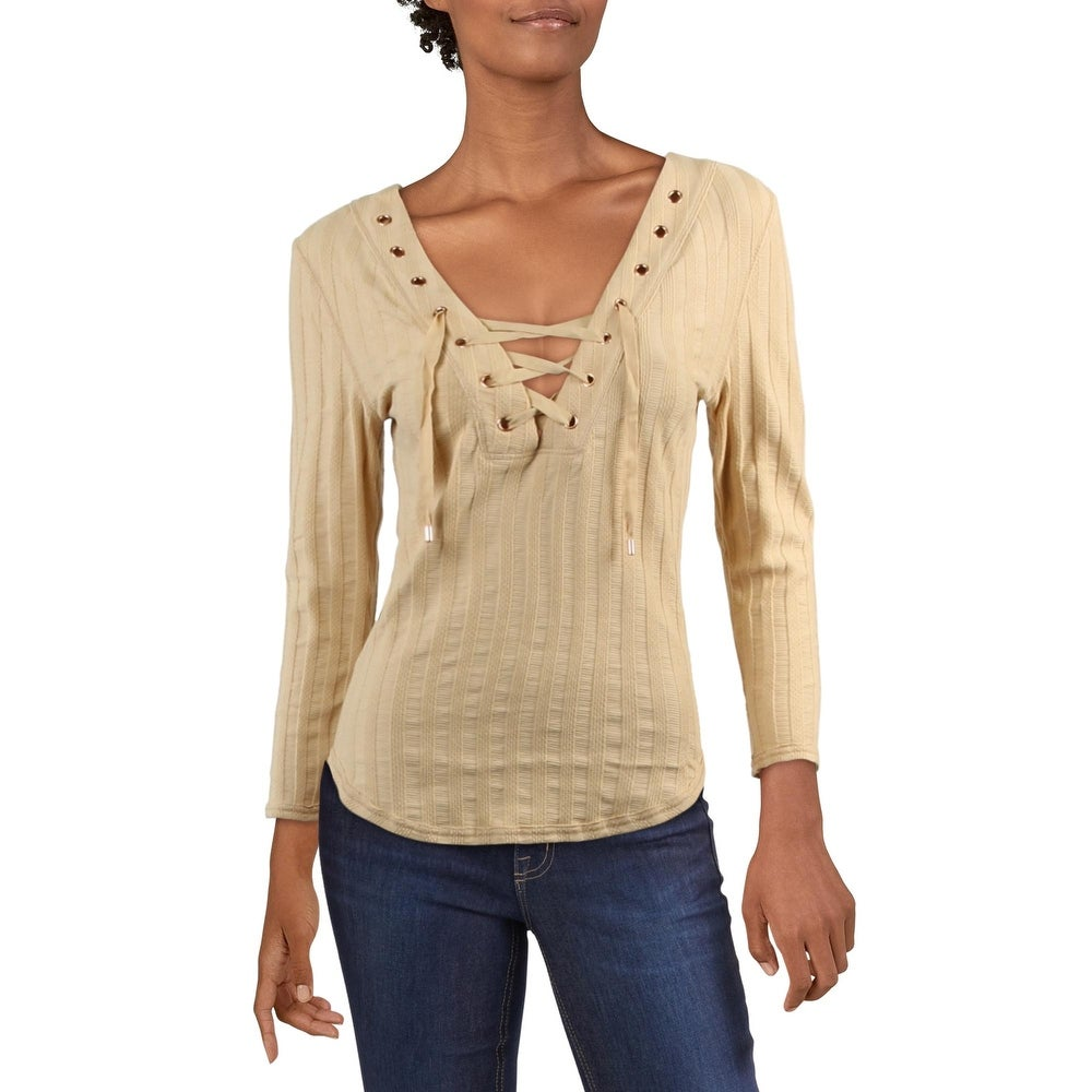 Free People OB407324 Jersey Tambourine 3//4 Sleeve Blouse Knit Top Dark Oatmeal M