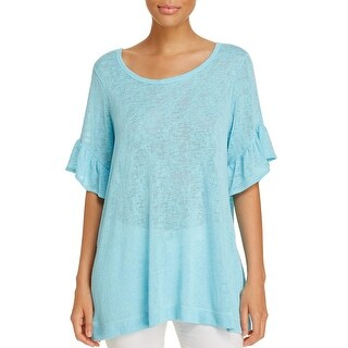 Nally & Millie Womens Pullover Top Knit Short Sleeves