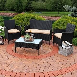Sunnydaze Enmore 4-Piece Wicker Rattan Patio Furniture Set with Tan Cushions