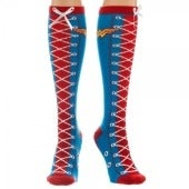 DC Comics Wonder Woman Faux Lace Up Juniors Knee High Socks - Red