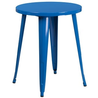 Brimmes Round 24'' Blue Metal Table for Patio/Bar