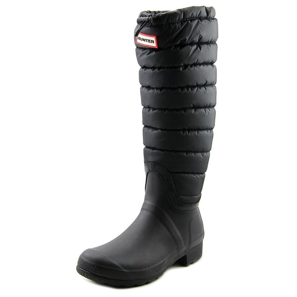 Hunter Org Tall BT Quilted Cuff Women Round Toe Synthetic Black Snow Boot