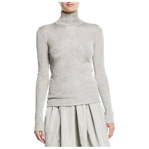 Ralph Lauren Turtleneck Long-Sleeve Metallic-Knit Sweater, Silver, X-Large