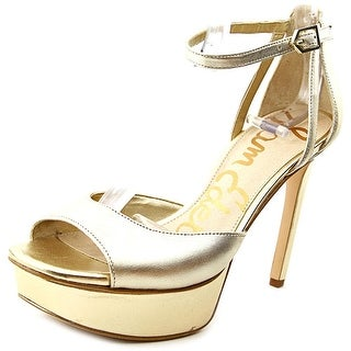 Sam Edelman Kayde Women Open Toe Leather Gold Platform Heel