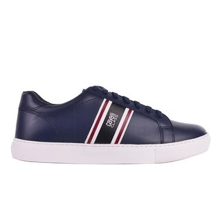 Cavalli Class Men's Navy w/stripes Low-Top Round Toe Leather Sneakers