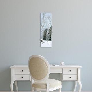 Easy Art Prints Panoramic Images's 'USA, Montana, fence, aspen, snow, winter' Premium Canvas Art