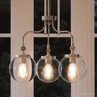 """Luxury Vintage Chandelier, 17.75""""H x 22""""W, with Industrial Chic Style, Polished Nickel Finish by Urban Ambiance"""
