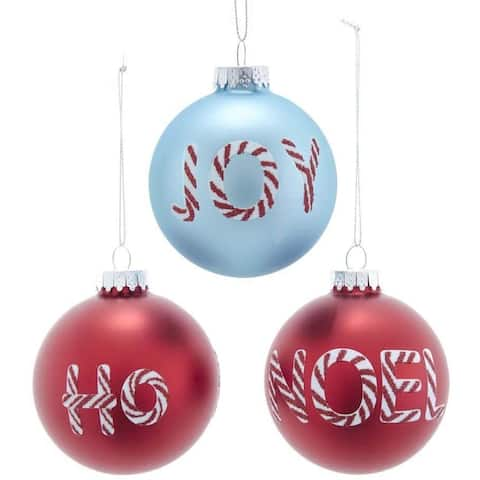 Kurt Adler 80MM Retro Red and Aqua Shiny and Matte Glass with Words Ball Ornaments, 6 Piece Set