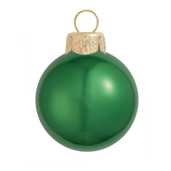 "12ct Pearl Green Xmas Glass Ball Christmas Ornaments 2.75"" (70mm)"