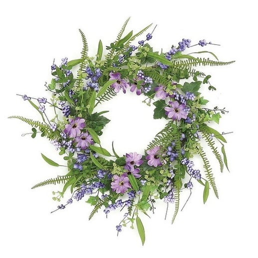 """24"""" Decorative Purple and Green Daisy and Mixed Berry Artificial Floral Wreath - Unlit"""
