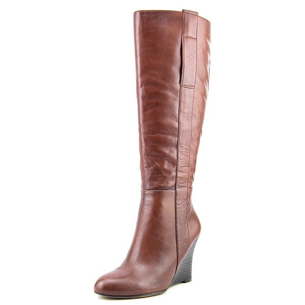 Nine West Oran Wide Calf Women Round Toe Leather Brown Knee High Boot