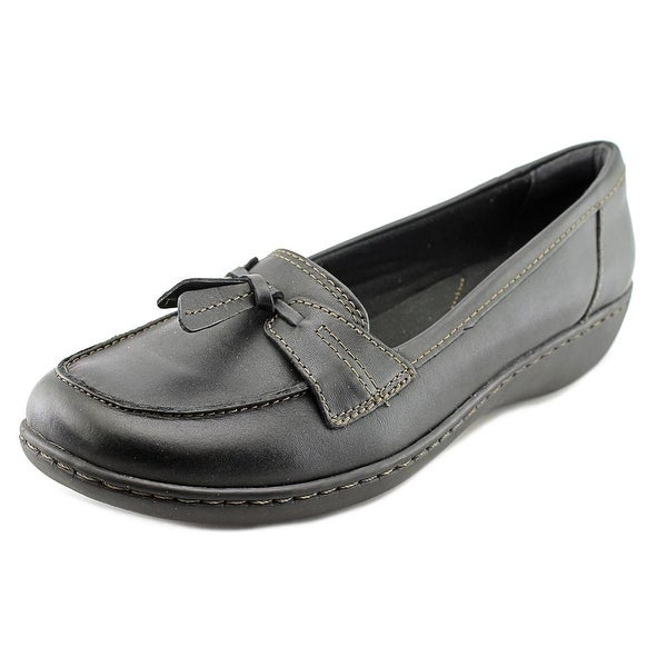 Clarks Narrative Ashland Bubble Women N/S Moc Toe Leather Black Loafer