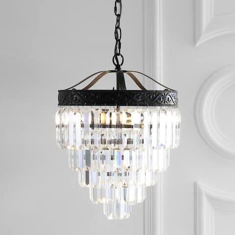 "Wyatt 12"" 2-Light Crystal LED Chandelier, Bronze/ Clear by JONATHAN Y - Bronze"