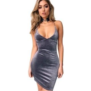 Deep V Neck Strap Gray Velvet Women Dress Lace Up Backless Autumn Sexy Party Dresses Body con Pencil Girls Dresses