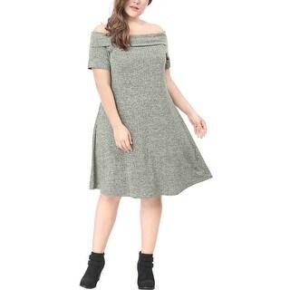 Allegra K Women's Plus Size Ribbed Knee Length Off Shoulder Knit Dress - gray
