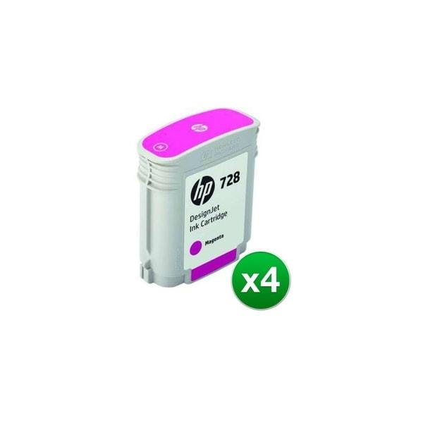 HP 728 Magenta DesignJet Ink Cartridge (F9J62A)(4-Pack)