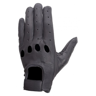 Unisex Premium Aniline Leather Driving, Cycling, Dress Summer Gloves Black