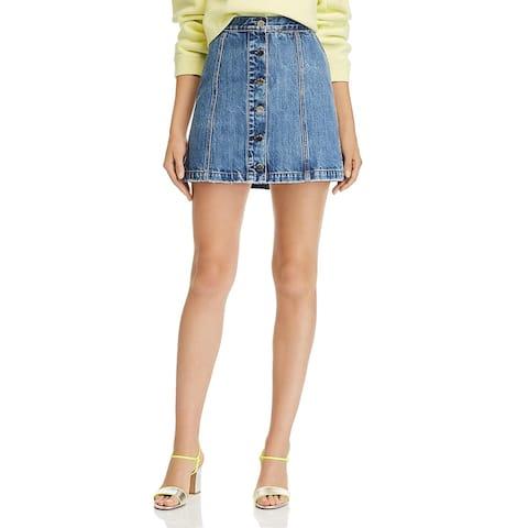 Rag & Bone Womens Rosie Mini Skirt Denim Button - Blue - 28