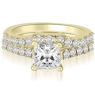 1.25 CT.TW Princess And Round Diamond Bridal Set - White H-I