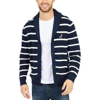 Nautica Mens Cardigan Sweater Cotton Shawl-Collar