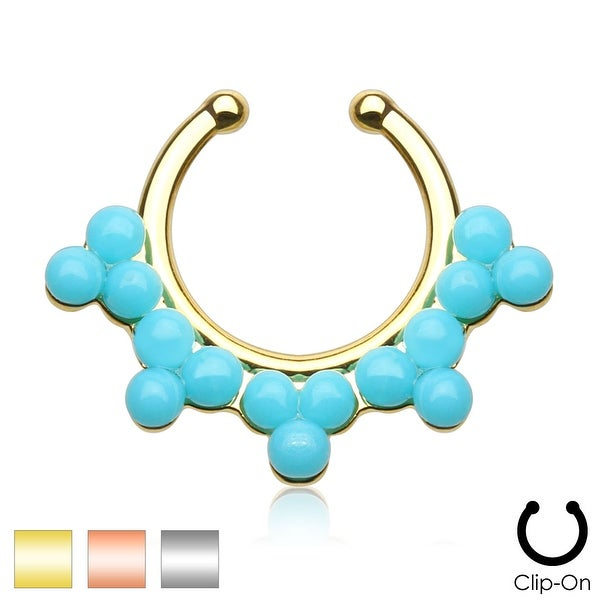 Double Lined Turquoise Color Beads Non-Piercing Septum Hanger (Sold Ind.)