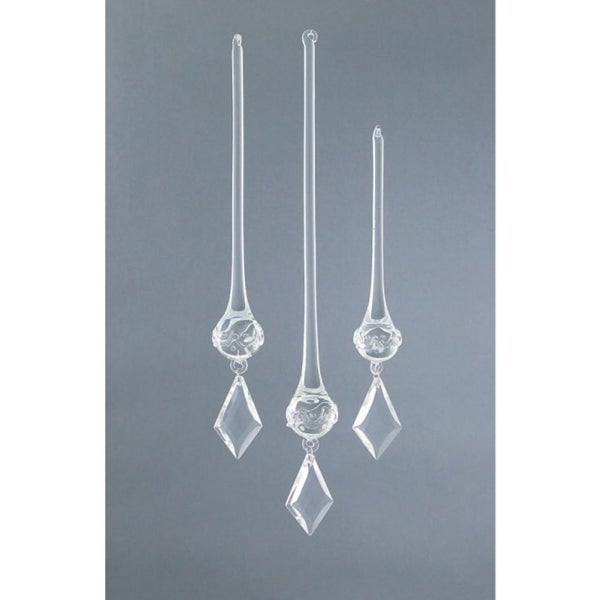 Set of 3 Rustic Fire Crystal Kite Drop Christmas Ornaments - CLEAR