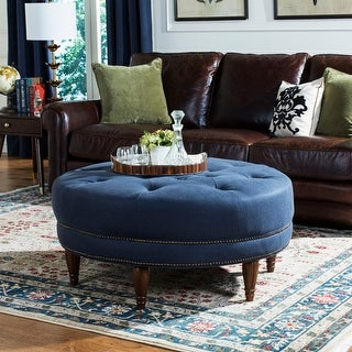 Safavieh Couture High Line Collection Bedell Indigo Round Tufted Brass Nailhead Ottoman