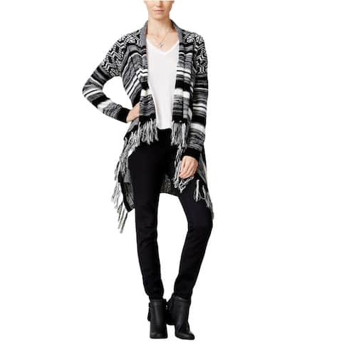 Hooked Up By Iot Womens Striped Waterfall Cardigan Sweater