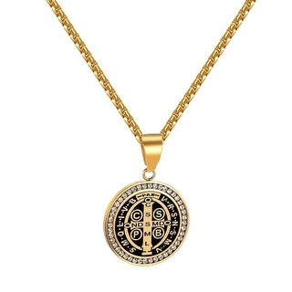 Saint Benedict SMQLIVB VRNSMV Coin Pendant Iced Out Gold Tone Stainless Steel