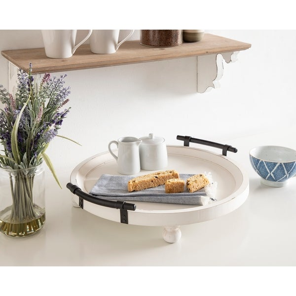 Kate and Laurel Bruillet Round Wooden Footed Tray. Opens flyout.
