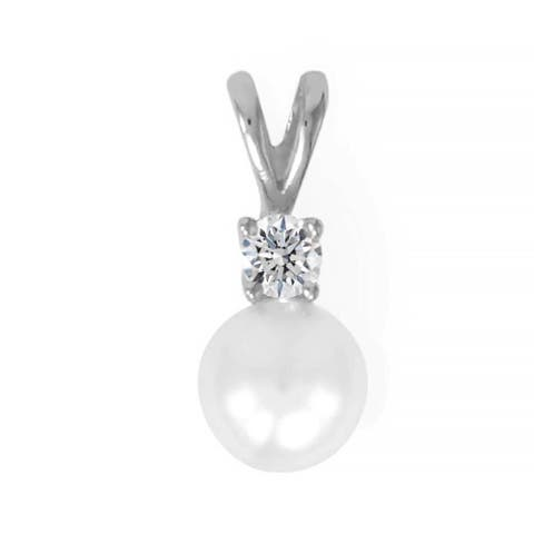 Sterling Silver Cultured Pearl & CZ Slide Pendant in Rhodium Plating