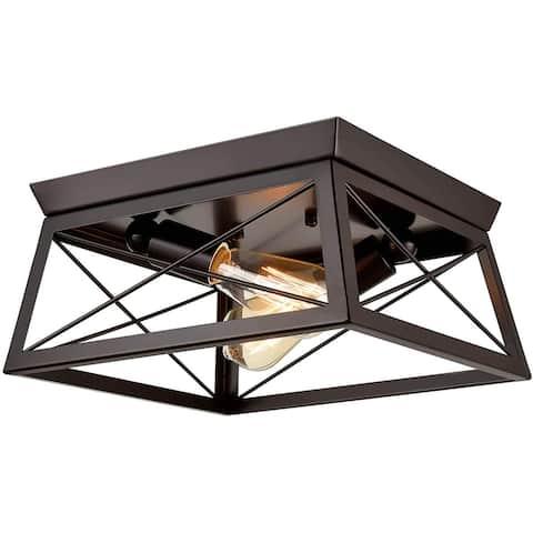 Igea Industrial Geometric Oil-Rubbed Bronze Flush Mount Ceiling 2-Light