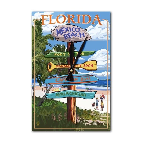 Mexico Beach, FL - Dest Sign - LP Artwork (Acrylic Wall Clock) - acrylic wall clock