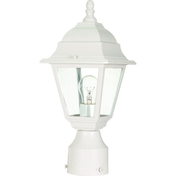 """Nuvo Lighting 60/546 Briton 1-Light 6"""" Wide Landscape Single Head Post Light with Clear Glass Shade - White - N/A"""