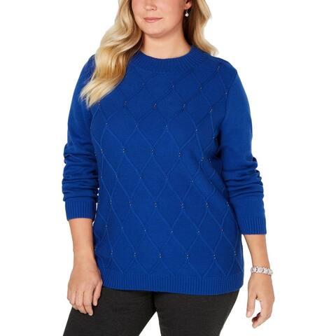 Karen Scott Women's Beaded Cable Mock Neck Sweater Bright Blue Size L