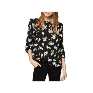 Sanctuary Womens Pullover Top Floral Print Long Sleeves