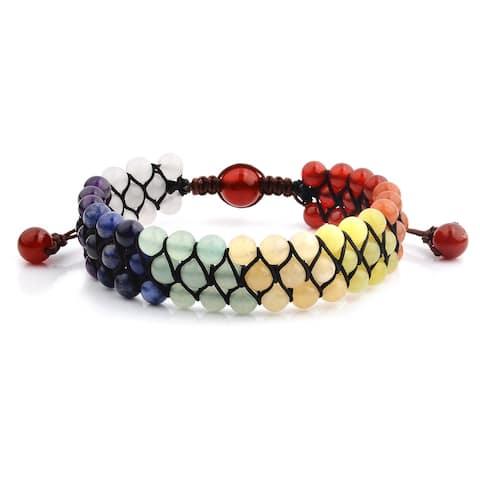 Multi Color Natural Stones Beaded Adjustable Bracelet (18mm Wide)