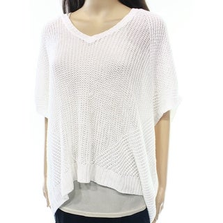 Polo Ralph Lauren NEW White Large L V-Neck Hi-Low Open-Knit Sweater