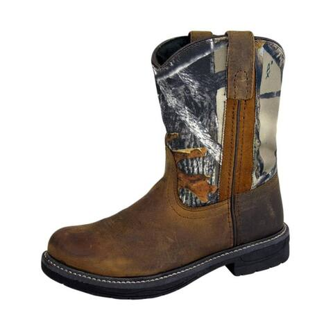 Smoky Mountain Western Boots Boys Buffalo Leather Brown Camo