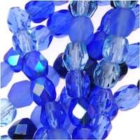Czech Fire Polished Glass Beads 4mm Round 'Blue Tone Mix' (38 Beads)