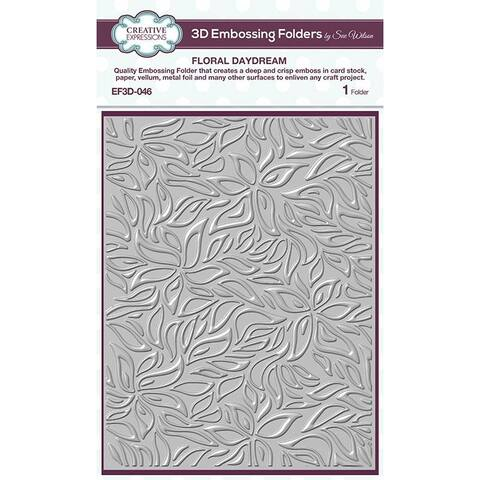 Creative Expressions Floral Daydream 5 3/4 in x 7 1/2 in 3D Embossing Folder - White - Medium