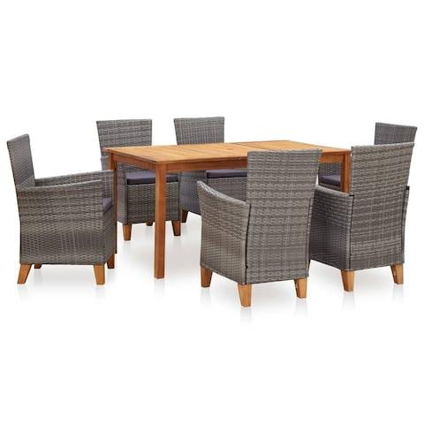 vidaXL 7 Piece Dining Set Poly Rattan and Solid Acacia Wood Gray